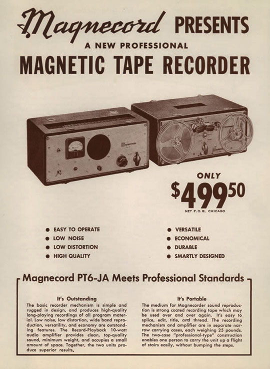1950 ad for the Magnecord reel to reel tape recorder in the Reel2ReelTexas.com MOMSR vintage recording collection