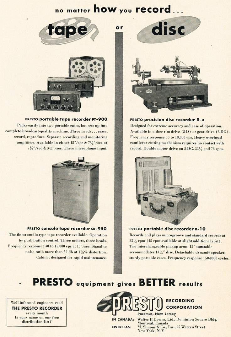 Presto ads from 1950 in the Reel2ReelTexas.com vintage recording collection