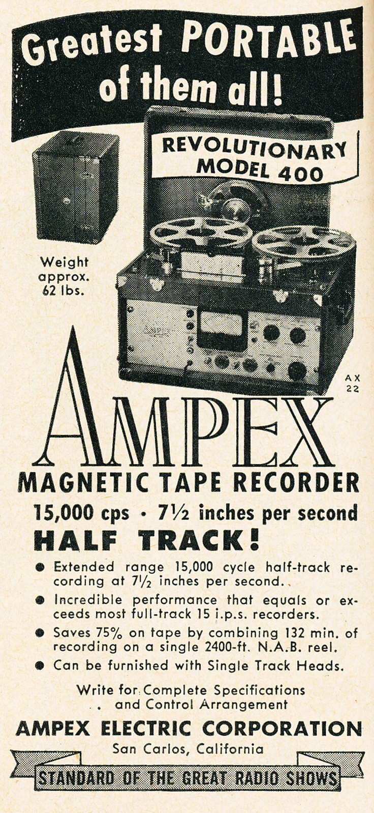 1951 Ampex 400 price list in the Reel2ReelTexas.com vintage recording collection