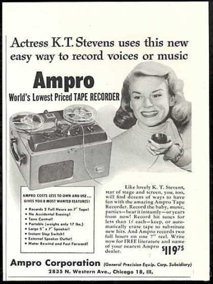 1951 ad for the Ampro reel to reel tape recorder in the Museum of magnetic Sound Recording
