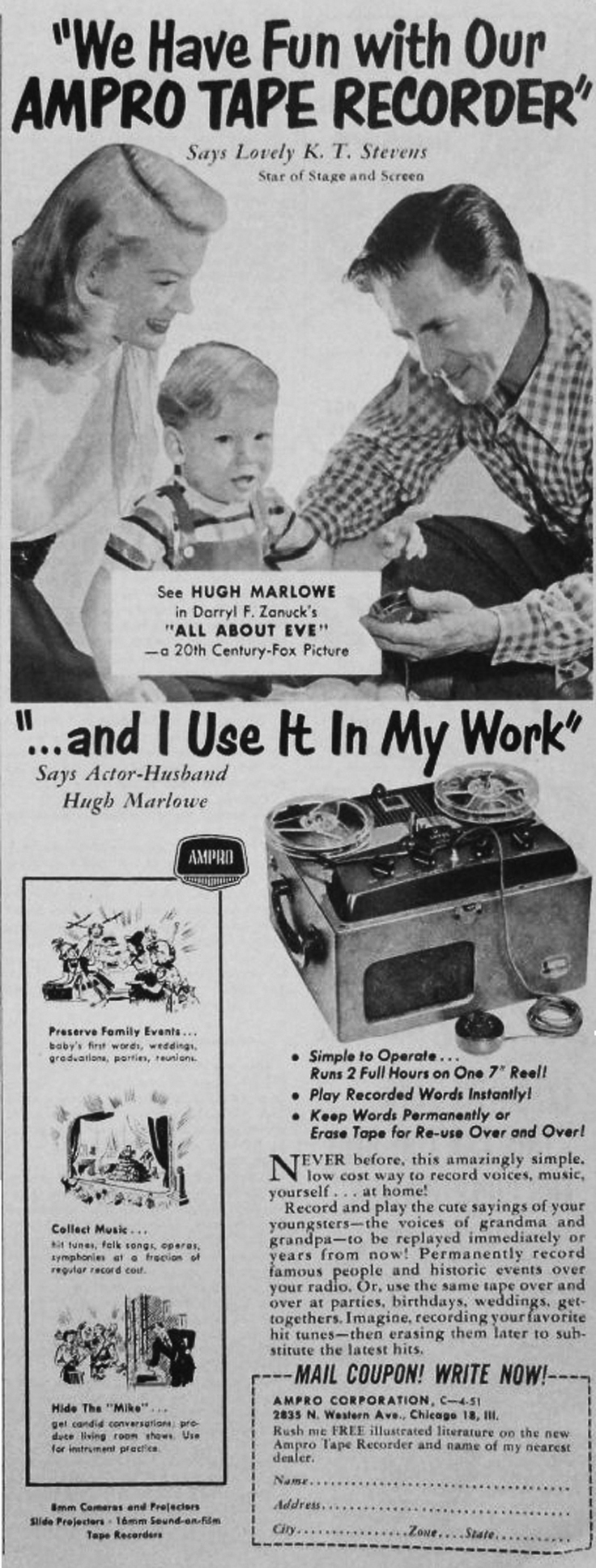 1951 Ampro Graflex reel tape recorder ad in the Reel2ReelTexas.com vintage recording collection