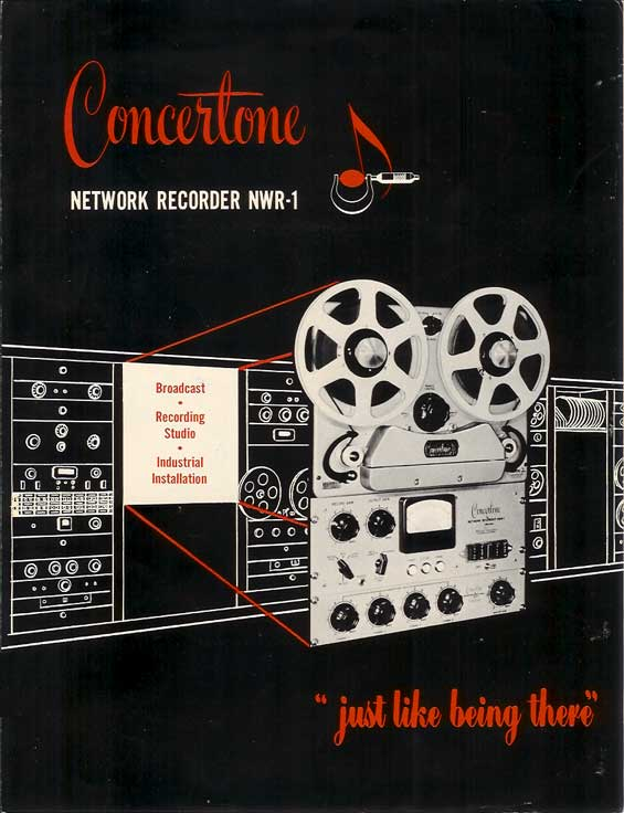 1951 Concertone NWR-1 ad in Reel2ReelTexas.com vintage reel tape recorder collection