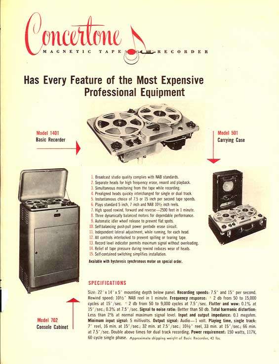 1951 ad for the Berlant 1401 professional reel to reel tape recorder in the Reel2ReelTexas.com vintage recording collection