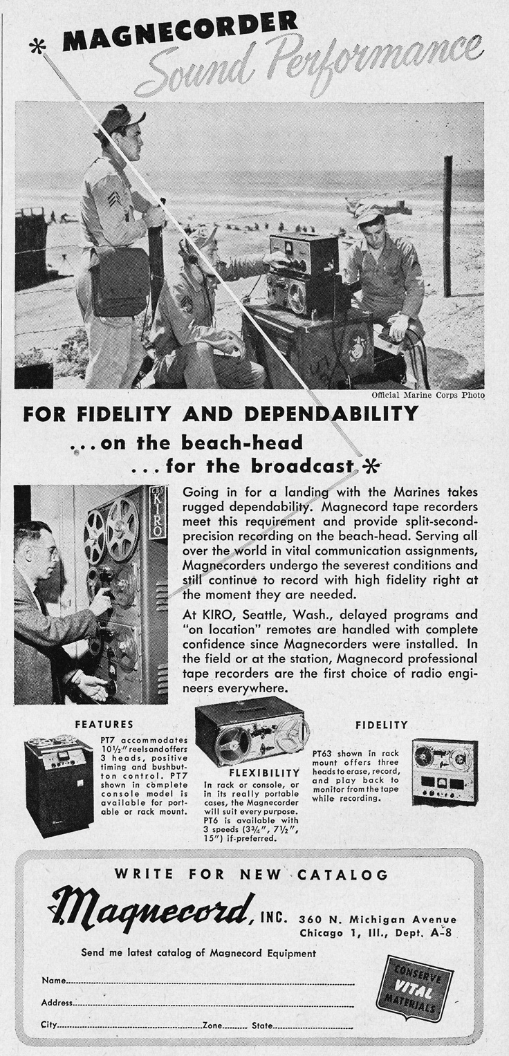 1951 ad for the Magnecord reel to reel tape recorder in the Reel2ReelTexas.com MOMSR vintage recording collection