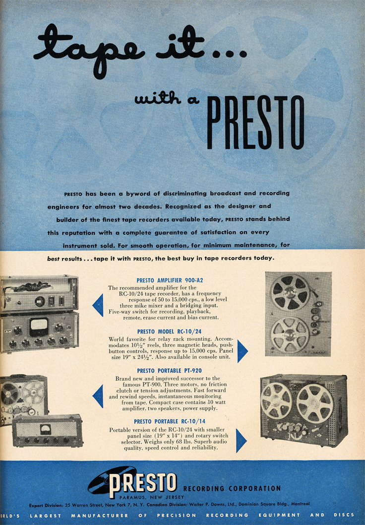 Presto ads from 1951 in the Reel2ReelTexas.com vintage recording collection