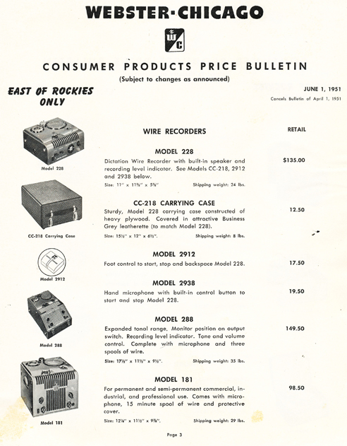 1951 Webster Chicago Price List in Reel2ReelTexas.com's vintage recording collection