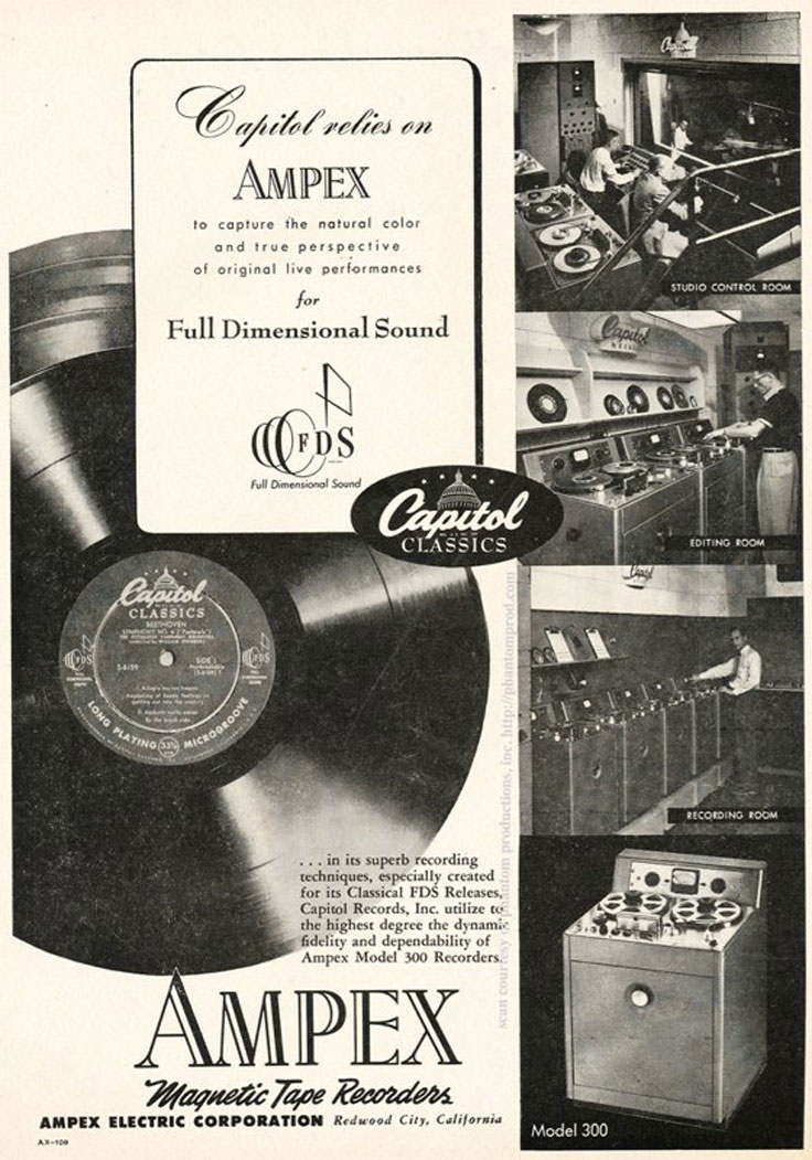 1952 ad for the Ampex 300 professional reel to reeel tape recorder in the Reel2ReelTexas.com vintage recording collection