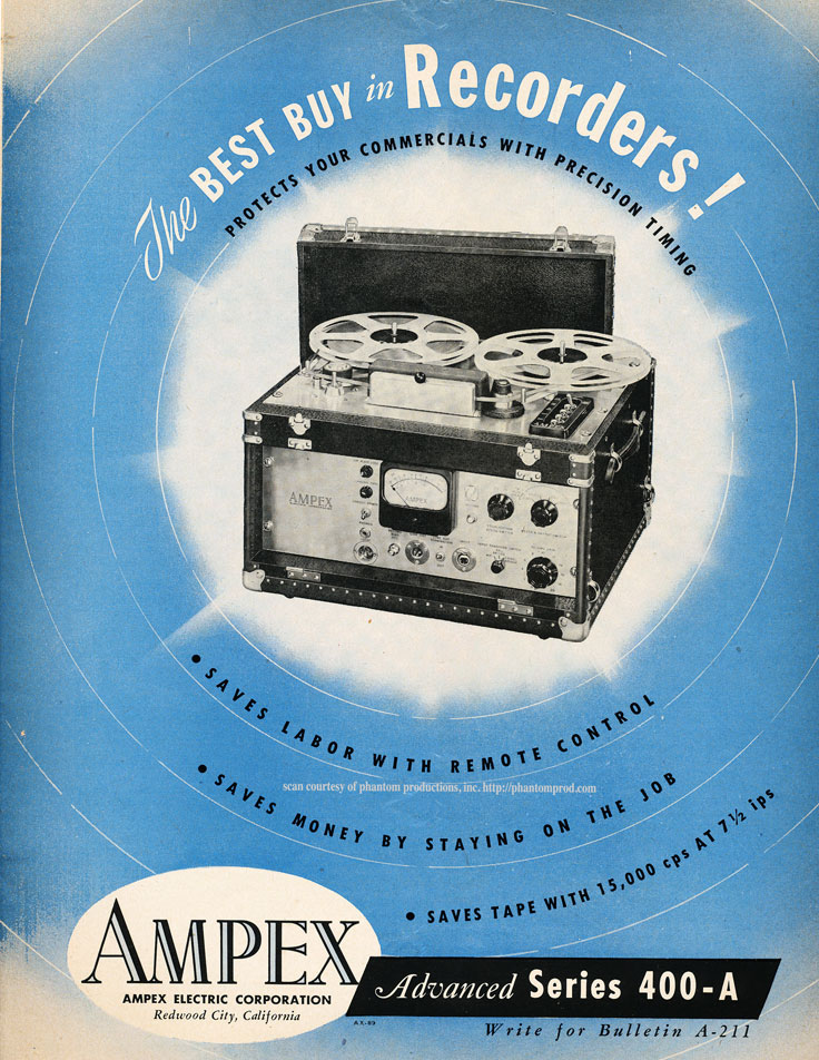 1952 Ampex 400 price list in the Reel2ReelTexas.com vintage recording collection