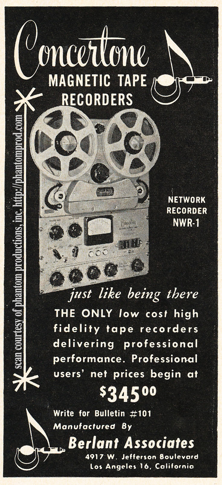 1952 ad for the Berlant Concertone  reel to reel tape recorders in the Reel2ReelTexas.com vintage recording collection