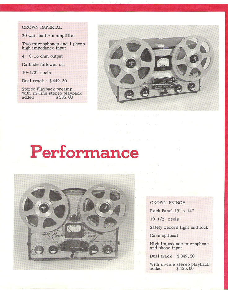 1952 Crown reel to reel tape recorder brochure in the Reel2ReelTexas.com vintage recording collection