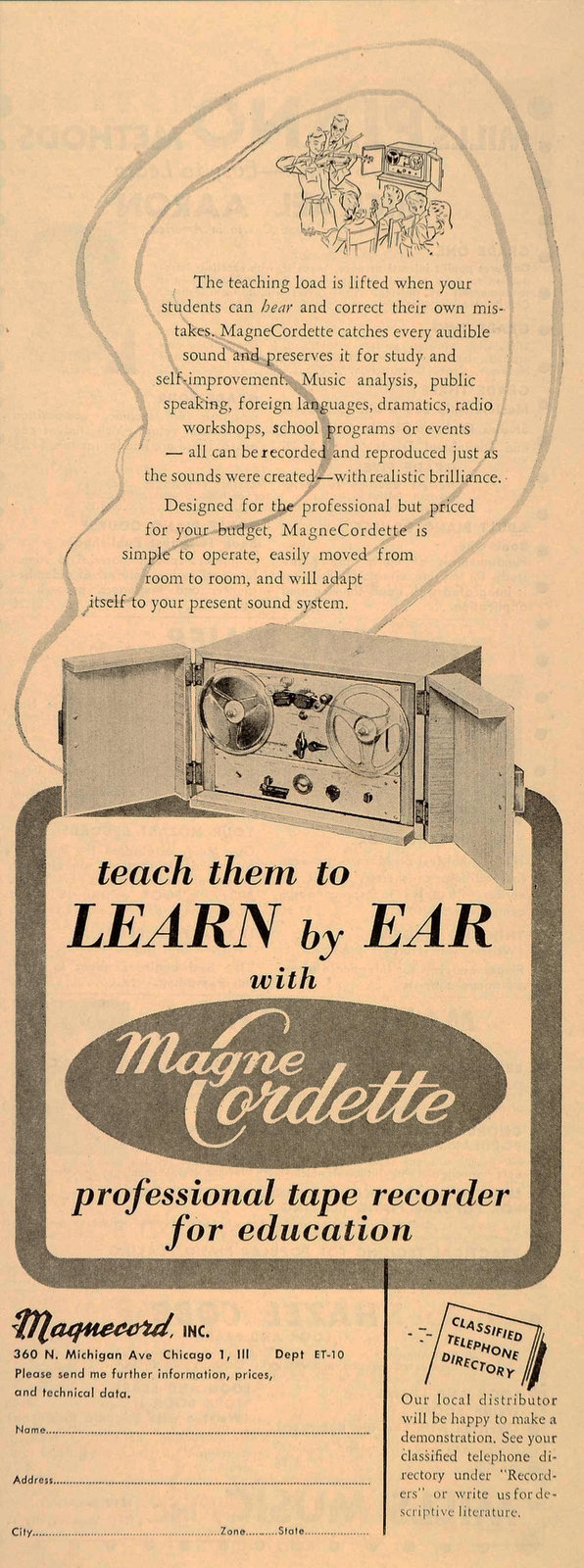 1952 ad for the Magnecord reel to reel tape recorder in the Reel2ReelTexas.com MOMSR vintage recording collection