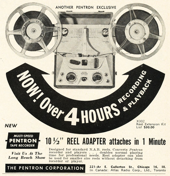1952 ad for the Pentron extended reel tape recorder in the Reel2ReelTexas.com vintage recording collection