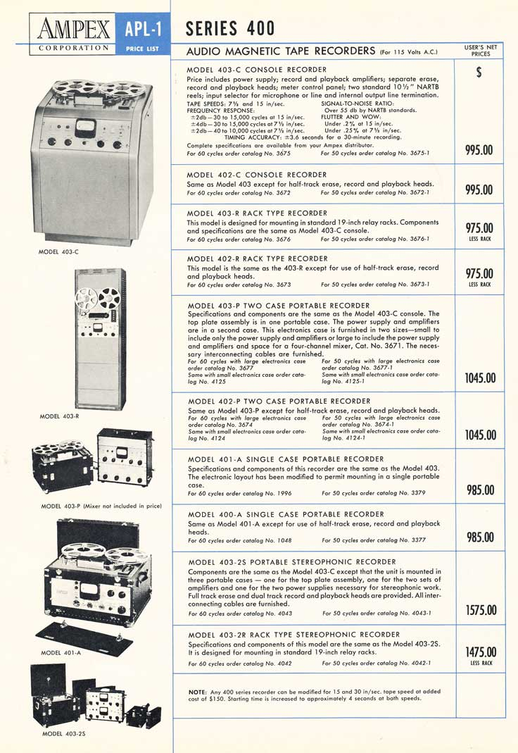 1953 Ampex 400 price list in the Reel2ReelTexas.com vintage recording collection