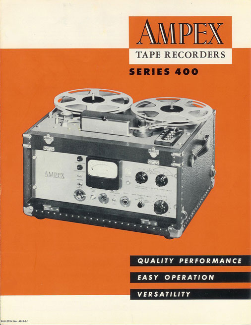 1950 ad for the Ampex 400 reel tape recorder in the Reel2ReelTexas.com vintage rcording collection