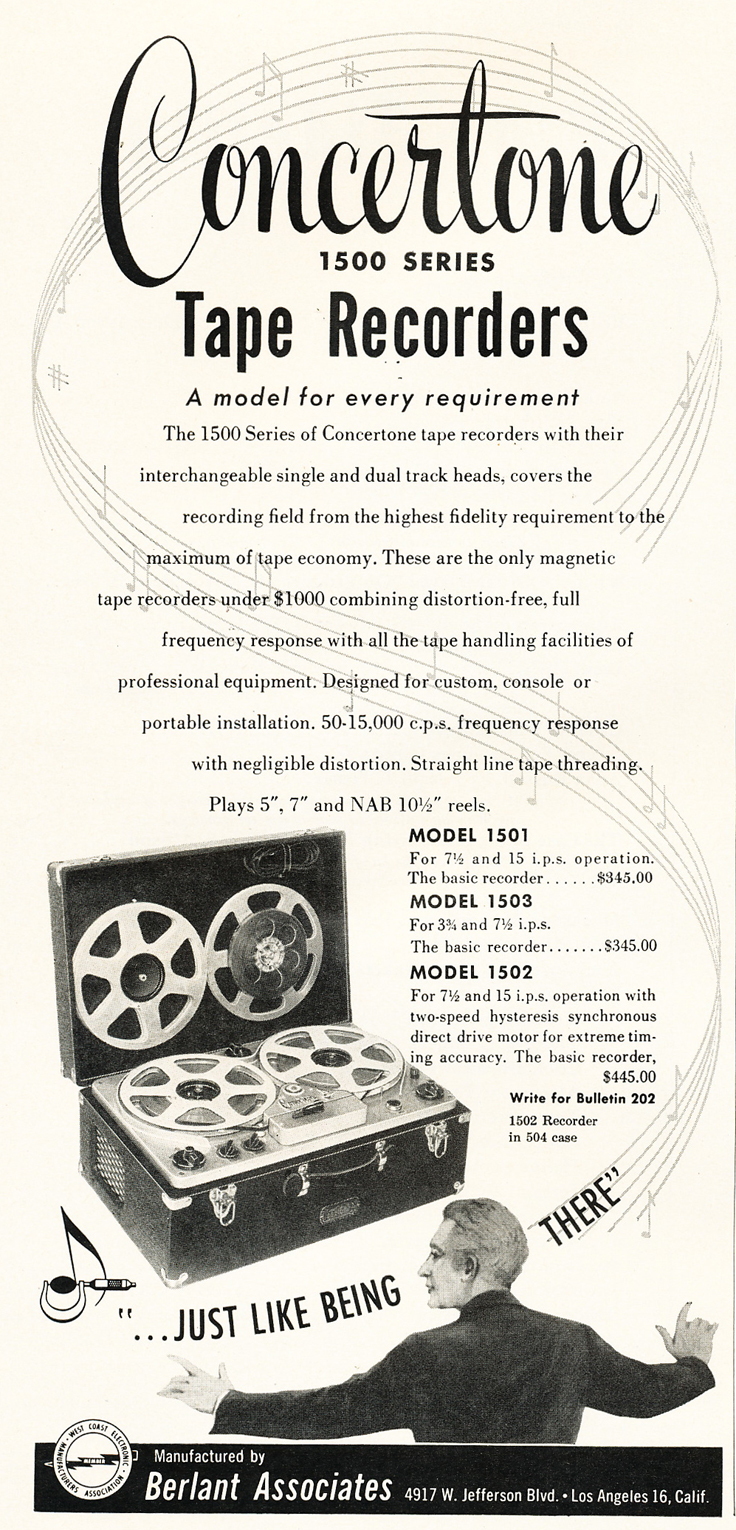 1953 ad for the Berlant Concertone Broadcast reel to reel tape recorders in the Reel2ReelTexas.com vintage recording collection