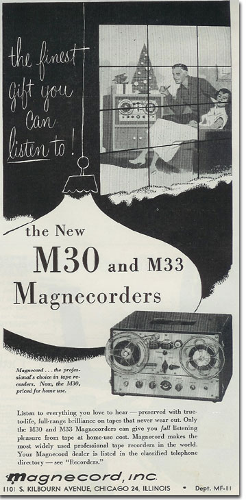 1952 Magnecorder M30,M33 ad in Reel2ReelTexas.com vintage reel tape recorder collection