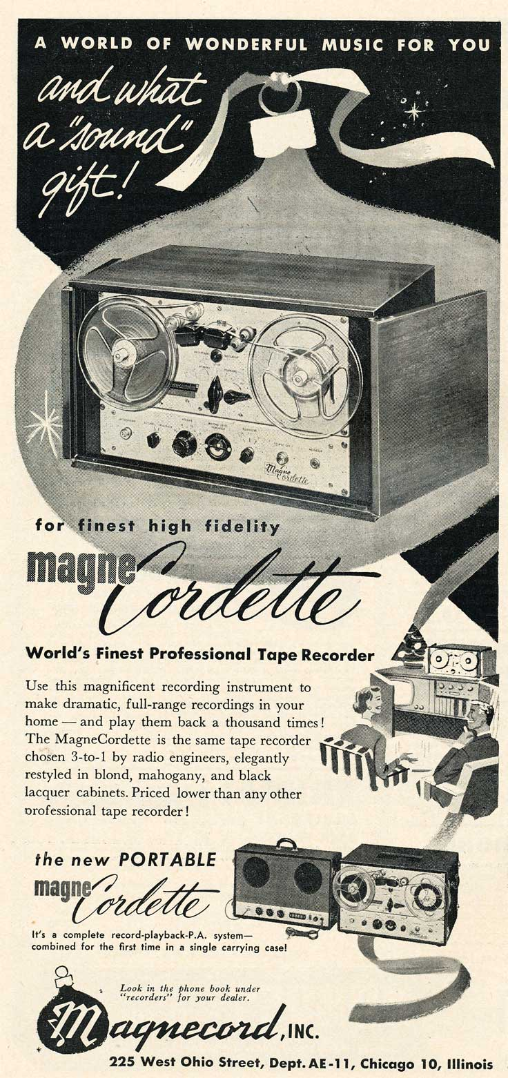 1953 ad for the Magnecord reel to reel tape recorder in the Reel2ReelTexas.com MOMSR vintage recording collection
