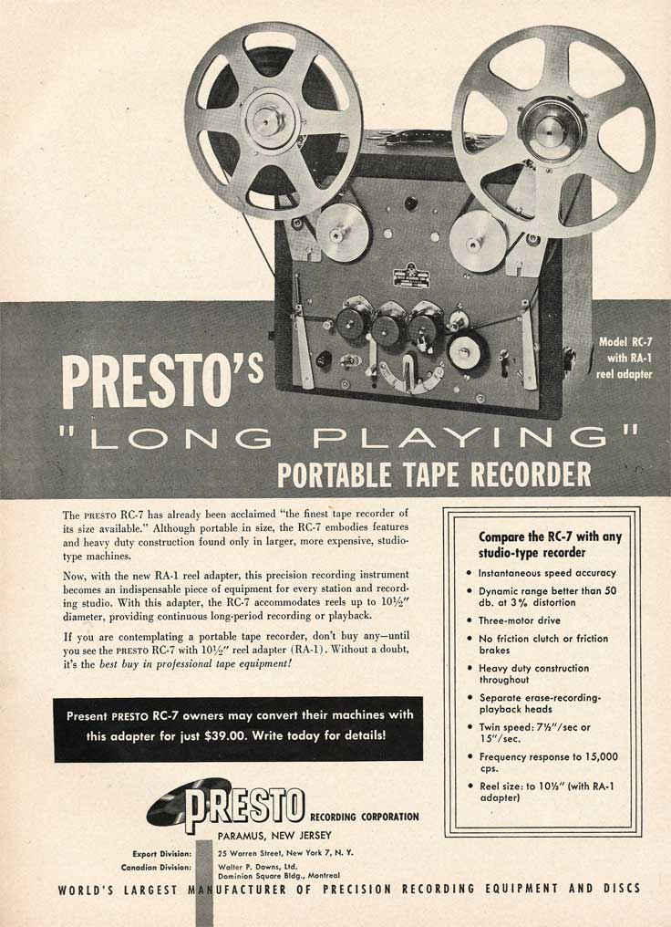 Presto ads from 1953 in the Reel2ReelTexas.com vintage recording collection