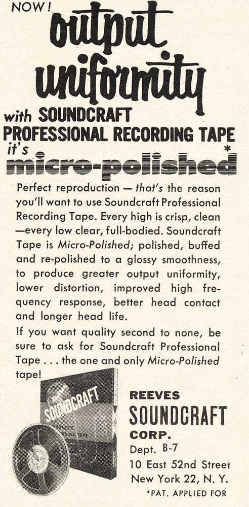 1953 Soundcraft ad  in the Reel2ReelTexas.com vintage reel tape recorder recording collection