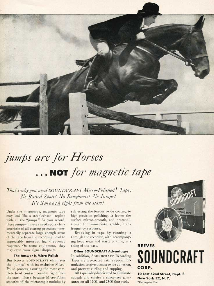 1953 ad for Soundcraft reel to reel tape recorder tape featuring a jumping horse  in the Reel2ReelTexas.com vintage recording collection