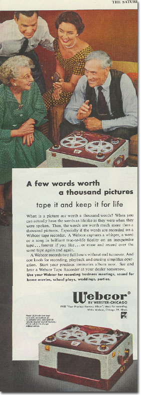 1953 ad for the Webcor 2110 reel to reel tape recorder in the Reel2ReelTexas.com vintage recording collection