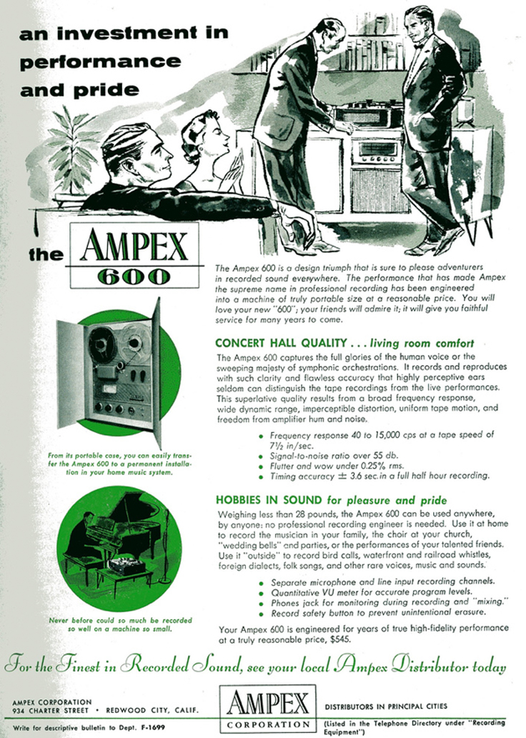 1954 ad for the Ampex 600 reel tape recorder in the Reel2ReelTexas.com vintage reel tape recorder recording collection