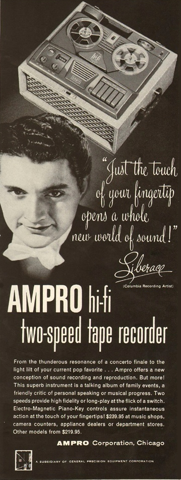 1954 Ampro ad featuring Liberace in the Reel2ReelTexas.com vintage recording collection