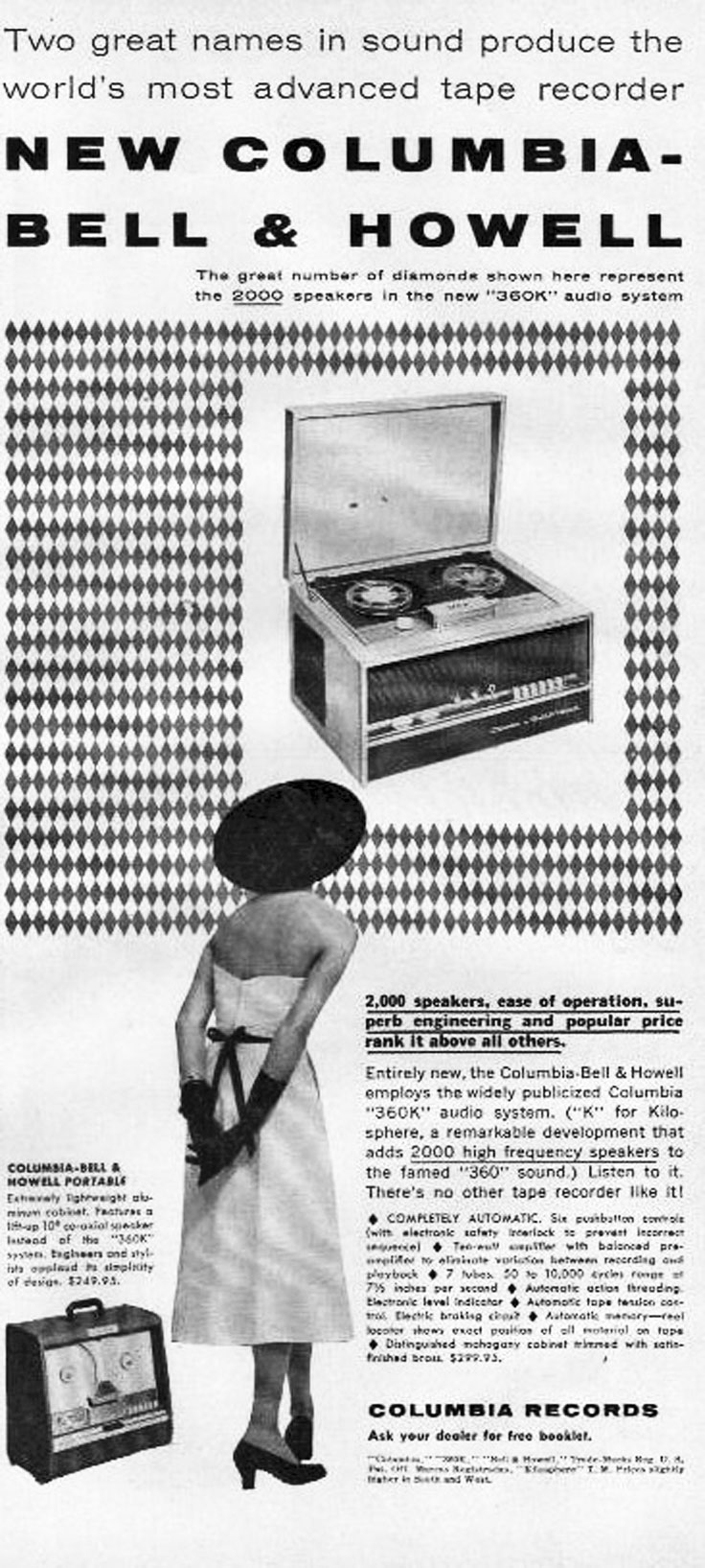 1954 Bell & Howell reel to reel tape recorder ad in the Museum of Magnetic Sound Recording / Reel2ReelTexas.com vintage recording collection