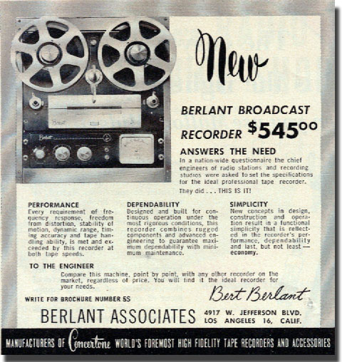 1954 ad for the Berlant Concertone Broadcast reel to reel tape recorders in the Reel2ReelTexas.com vintage recording collection