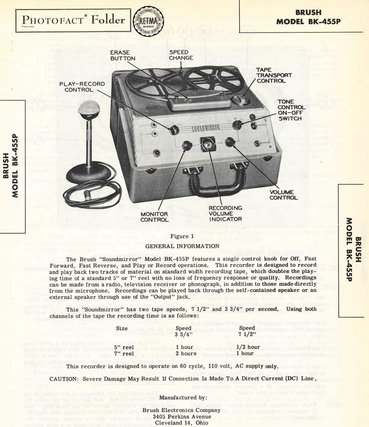 1953 Photofact for the Brush BK-455 reel to reel tape recorder in the Reel2ReelTexas.com vintage recording collection