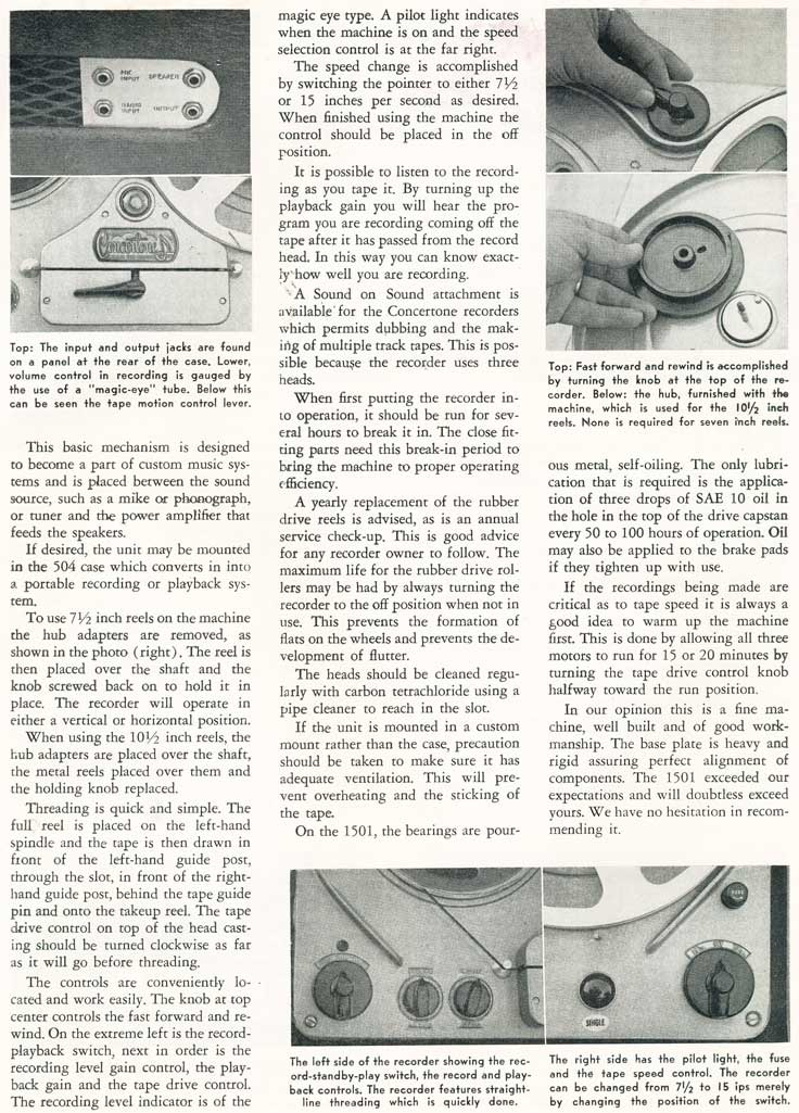 1954 article on the Berlant Concertone 1501 reel to reel tape recorders in the Reel2ReelTexas.com vintage recording collection