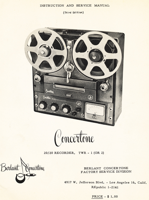 1954 brochure for the Berlant Concertone 2020 reel to reel tape recorders in the Reel2ReelTexas.com vintage recording collection