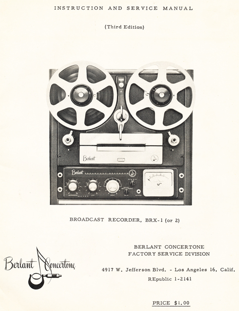 1954 brochure for the Berlant Concertone BRX1 Broadcast reel to reel tape recorders in the Reel2ReelTexas.com vintage recording collection