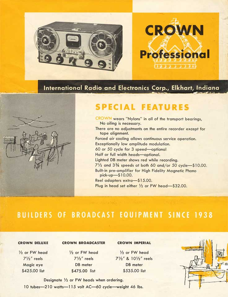 1954 ad for the Crown 3M  professional reel to reel tape recorder in the Reel2ReelTexas.com vintage recording collection