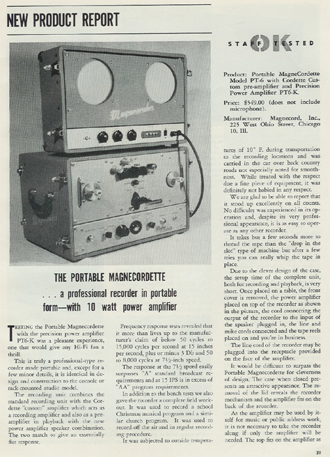 1954 ad for the Magnecord reel to reel tape recorder in the Reel2ReelTexas.com MOMSR vintage recording collection
