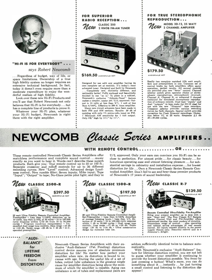 1954 Newcomb Audio Products ad