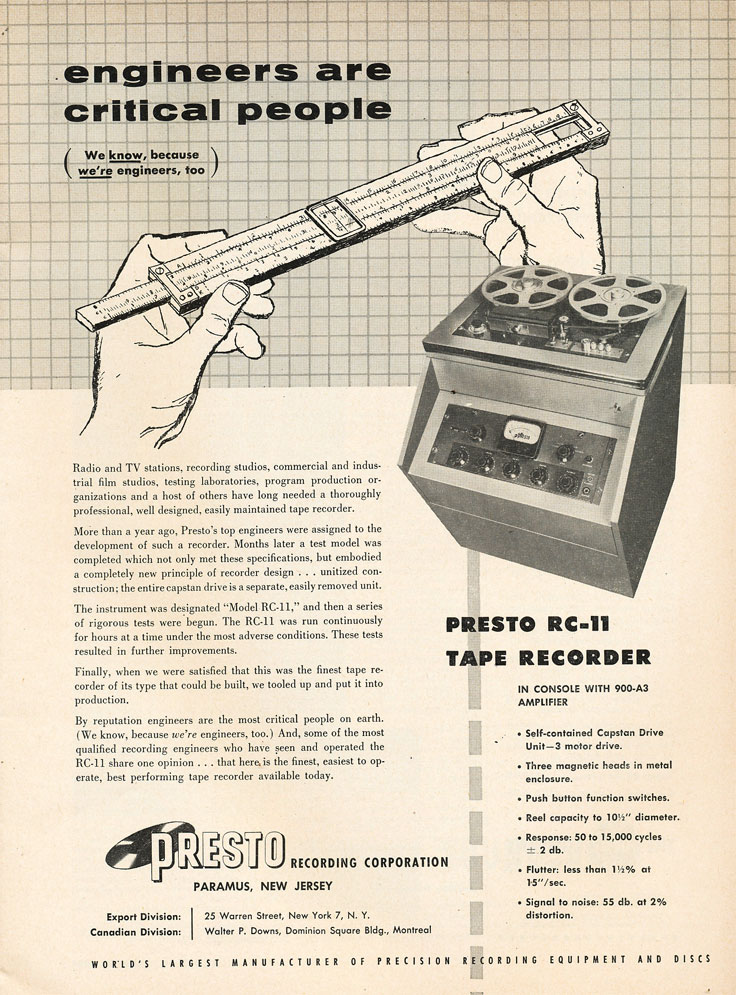 Presto ads from 1954 in the Reel2ReelTexas.com vintage recording collection