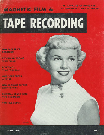 Cover of a 1954 Tape Recording magazine featuring Doris Day in the Reel2ReelTexas.com vintage recording collection