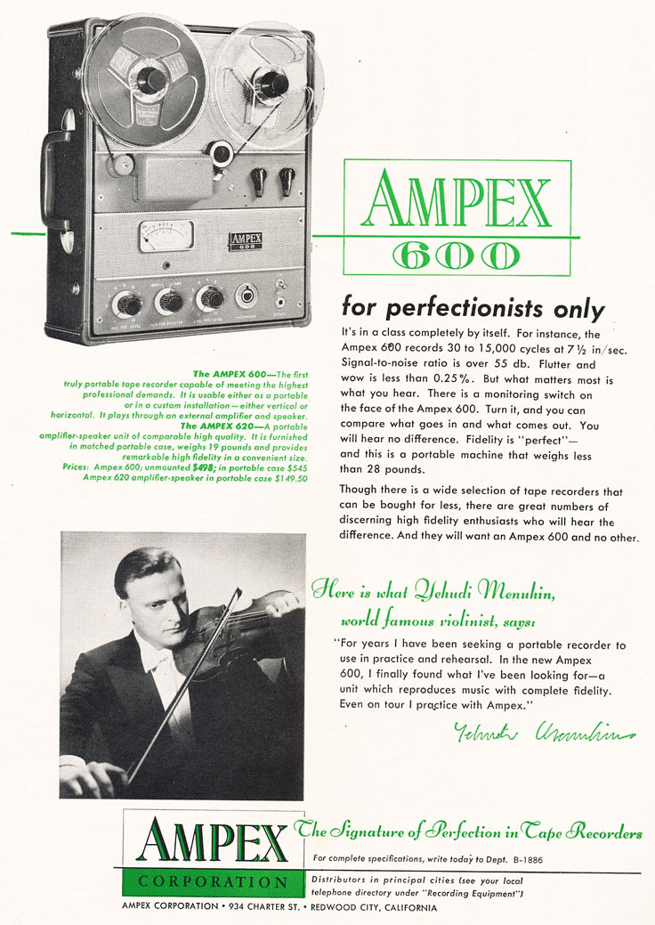 1955 ad for the Ampex 600 reel tape recorder in the Reel2ReelTexas.com vintage reel tape recorder recording collection