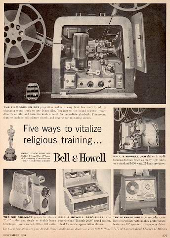 1955 Bell & Howell reel to reel tape recorder ad in the Museum of Magnetic Sound Recording / Reel2ReelTexas.com vintage recording collection