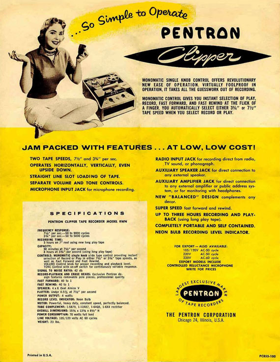 1955 ad for the Pentron reel tape recorder in the Reel2ReelTexas.com vintage recording collection