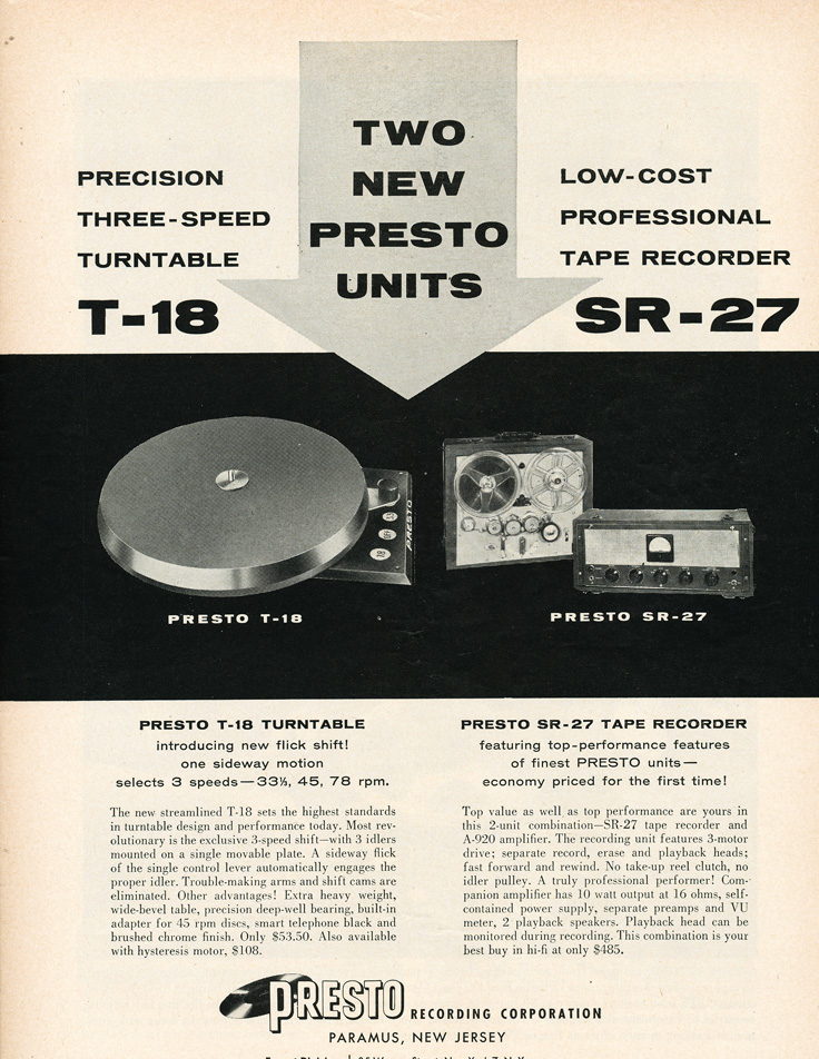 Presto ads from 1955 in the Reel2ReelTexas.com vintage recording collection