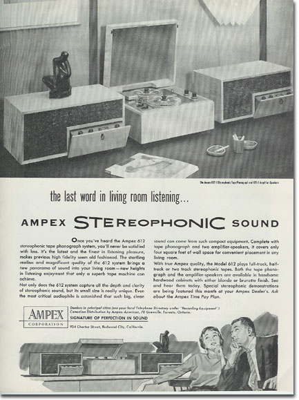 1956 Ampex console unit using the Ampex 612 in the Reel2ReelTexas.com vintage reel tape recorder recording collection