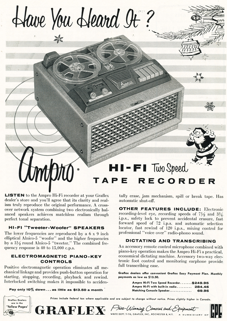 1956 Ampro Graflex reel tape recorder ad in the Reel2ReelTexas.com vintage recording collection