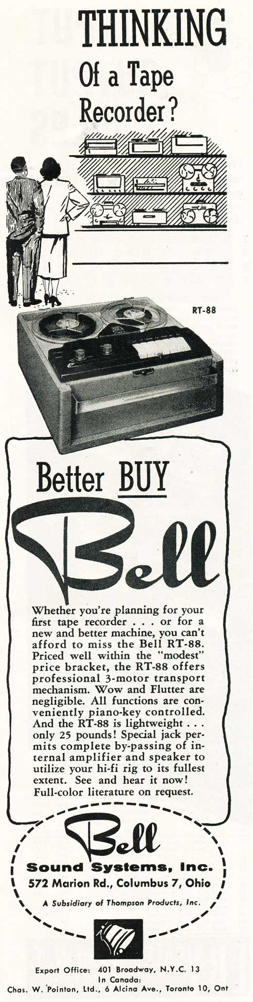 1956 ad for the Bell RT-75 reel to reel tape recorder in Phantom Productions' vintage tape recording collection