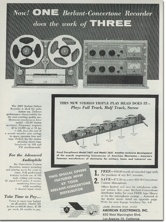1956 ad for Concertone reel to reel tape recorders in the Reel2ReelTexas.com vintage recording collection