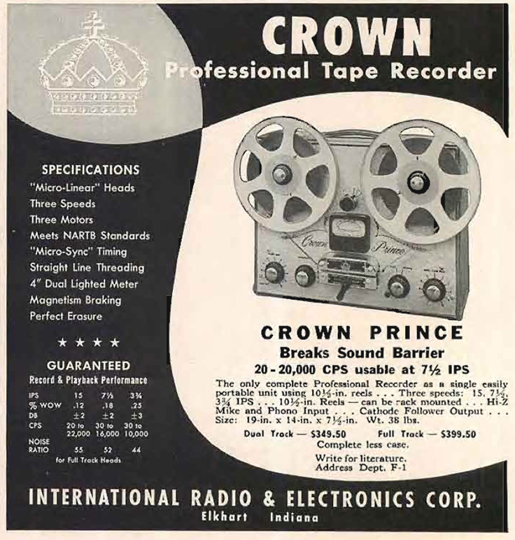 1958 ad for the Crown Prince professional reel to reel tape recorder in the Reel2ReelTexas.com vintage recording collection