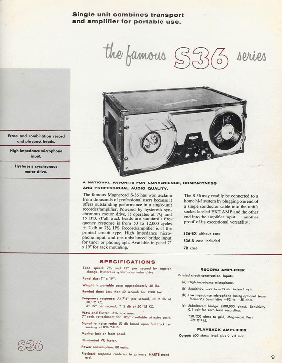1956 ad for the Magnecord S36 reel to reel tape recorder in the Reel2ReelTexas.com vintage recording collection
