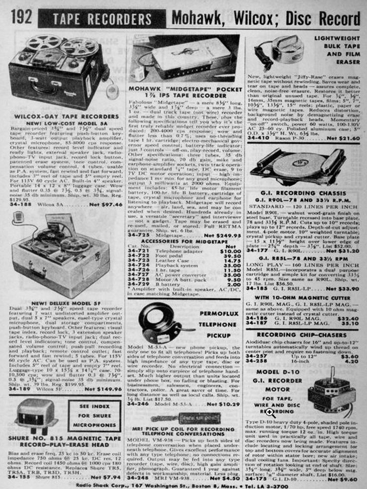 Radio Shack ad in the momsr/Reel2ReelTexas.com intage recording collection