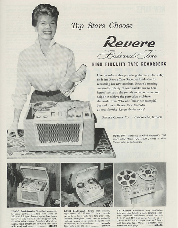 1956 ad for Revere reel to reel tape recorders featuring Doris Day  in the Reel2ReelTexas.com vintage recording collection